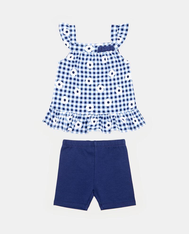 Jogging set t-shirt fantasia con motivo a quadri neonata