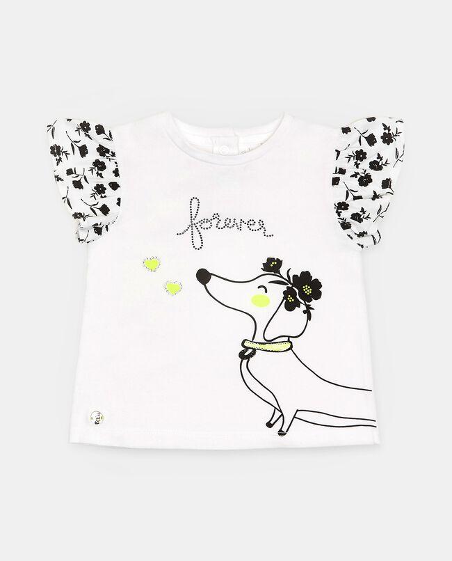 T-shirt di cotone elasticizzato con ruche e stampa neonata