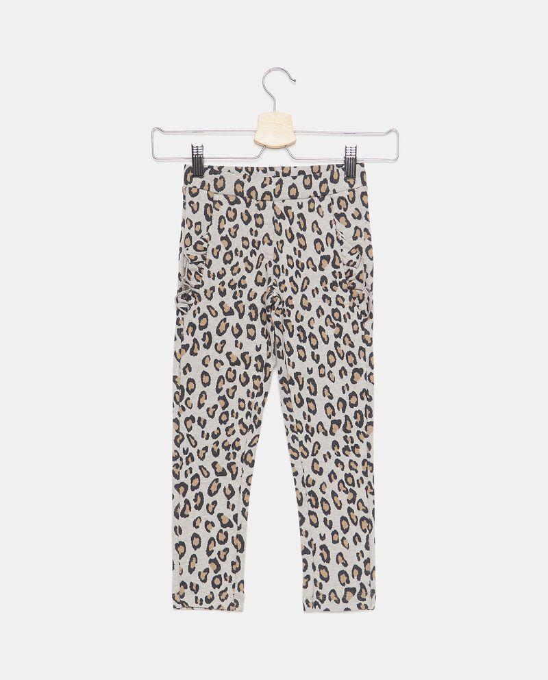 Pantaloni animalier con ruches bambina