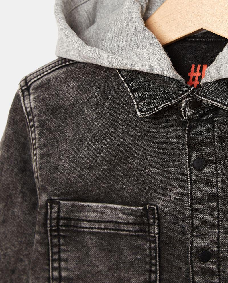 Camicia in denim di cotone con cappuccio bambino single tile 1