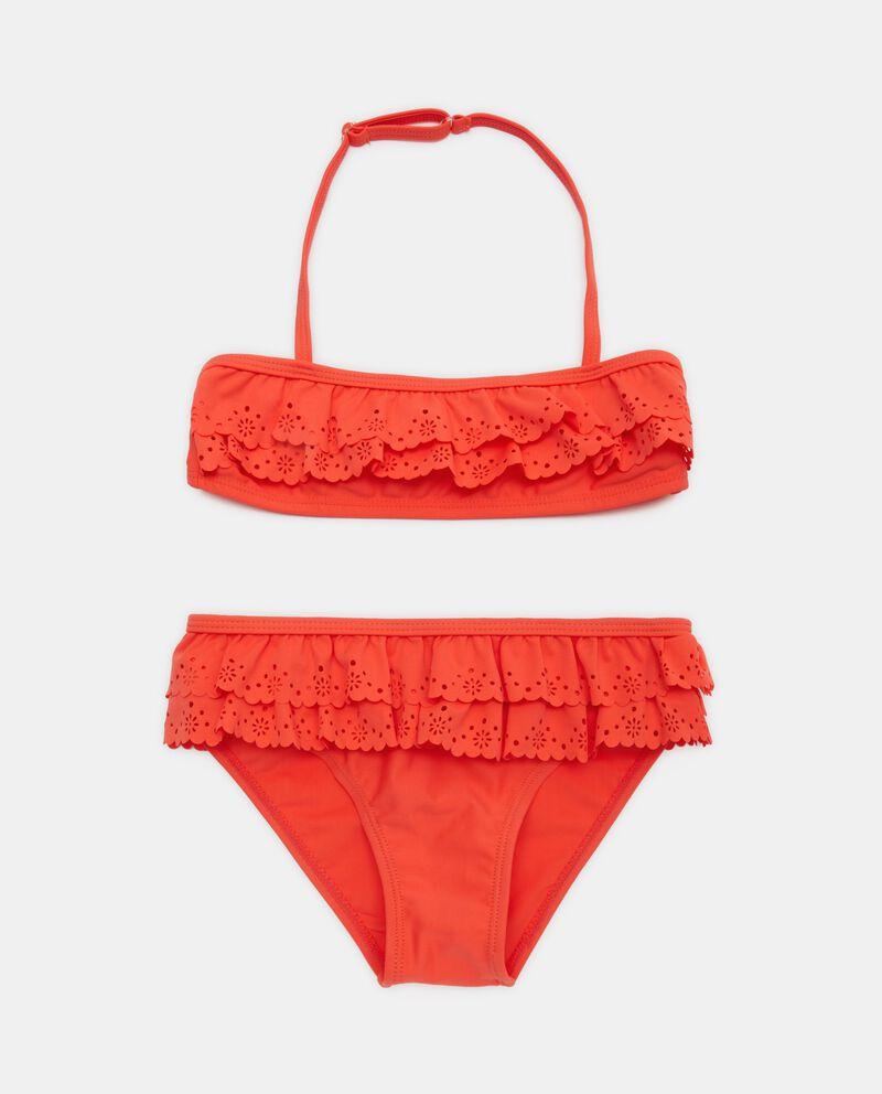 Bikini con balze e motivo traforato bambina
