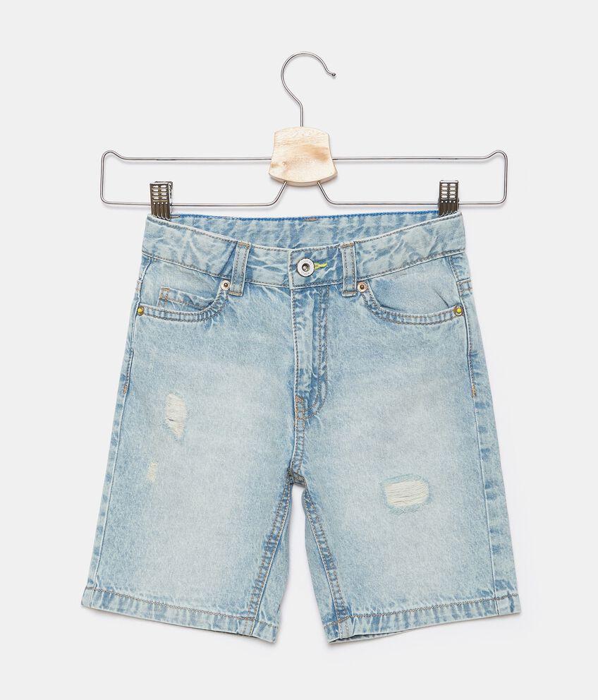 Shorts denim con lavaggio stone bambino double 1