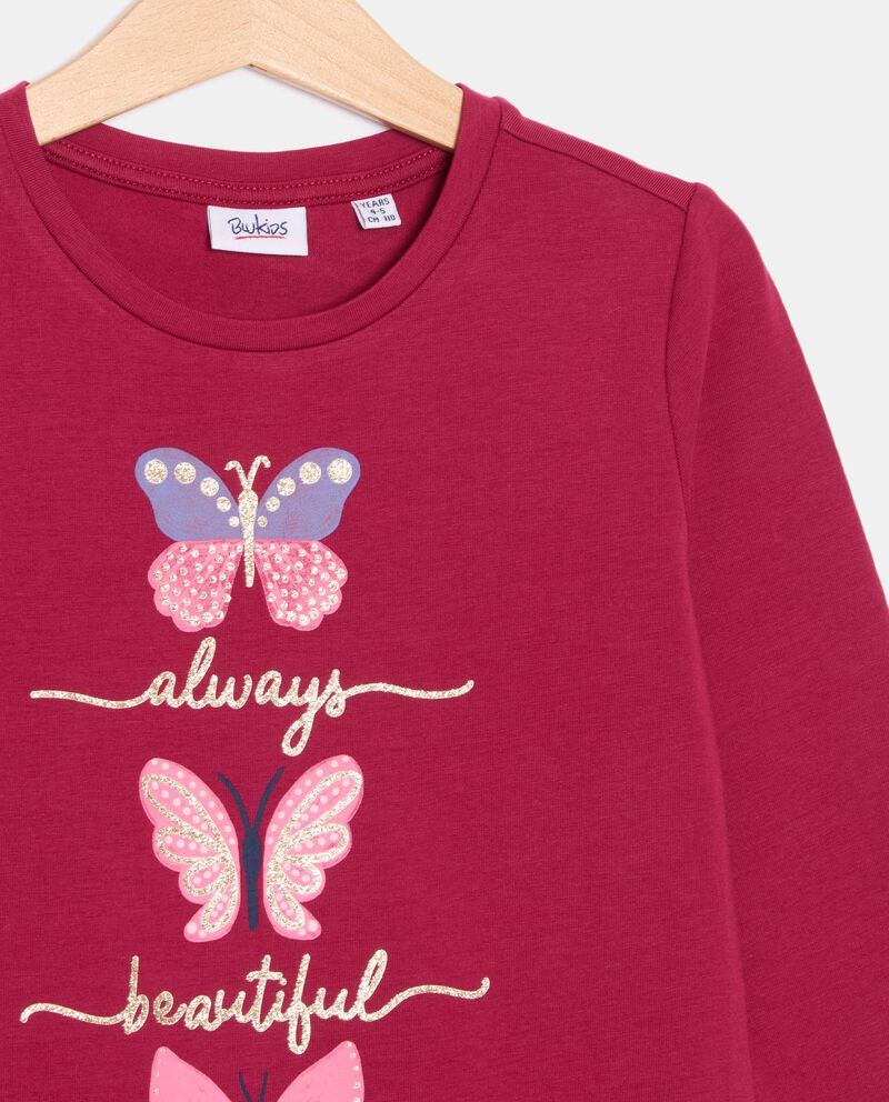 T-shirt con balza di cotone organico bambina single tile 1