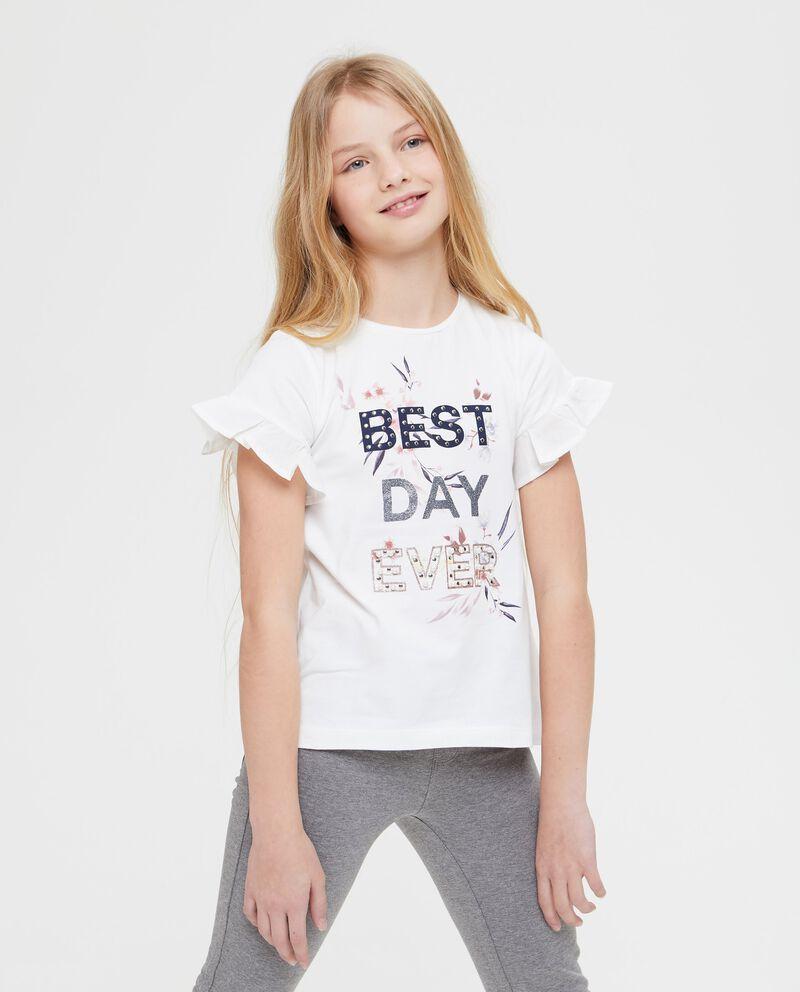 T-shirt con volant e borchie lettering
