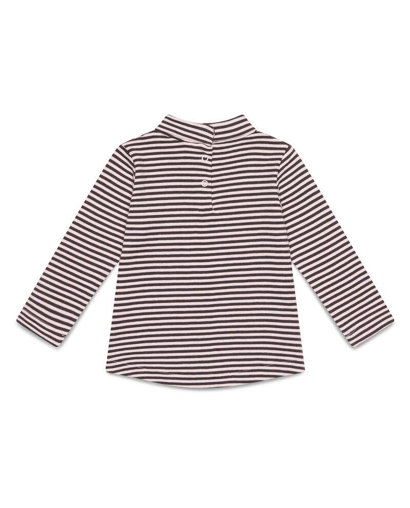 T-shirt cotone collo alto a righe