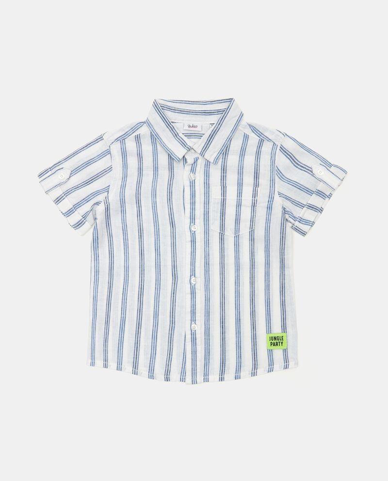 Camicia a righe in misto lino e cotone neonato cover