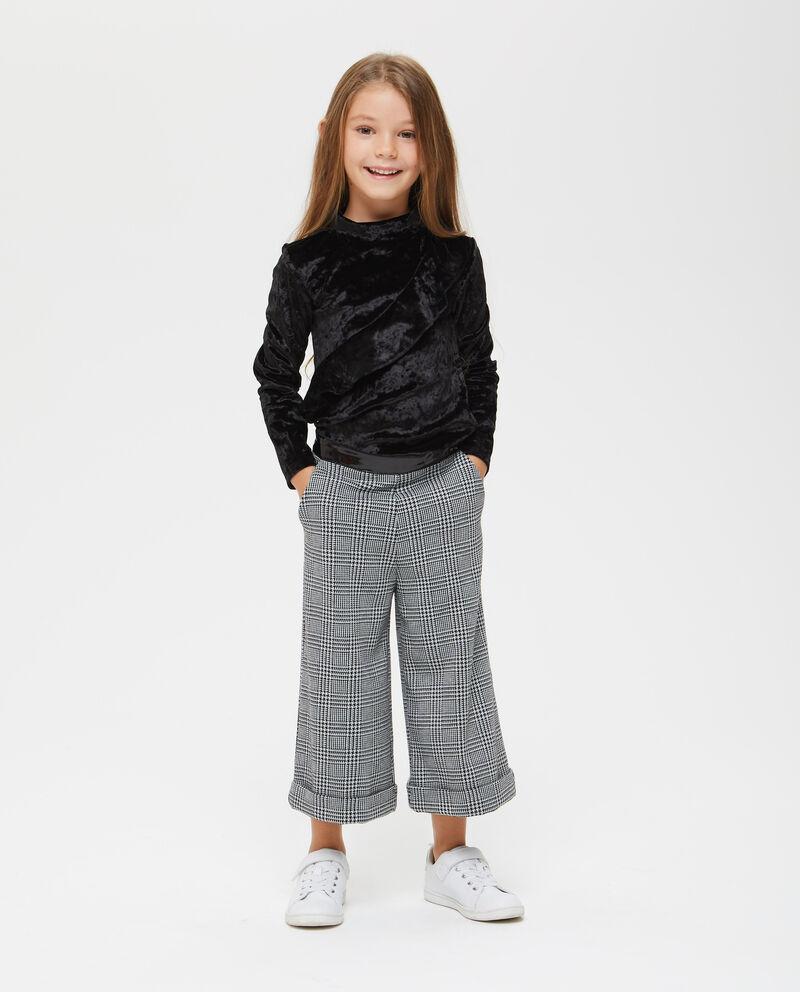 Pantaloni ampi crop pied de poule