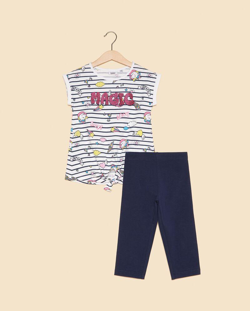 Set t-shirt con motivo a righe e leggings bambina