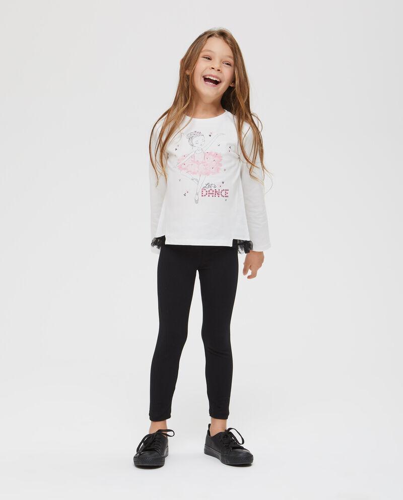 T-shirt stampa ballerina con strass