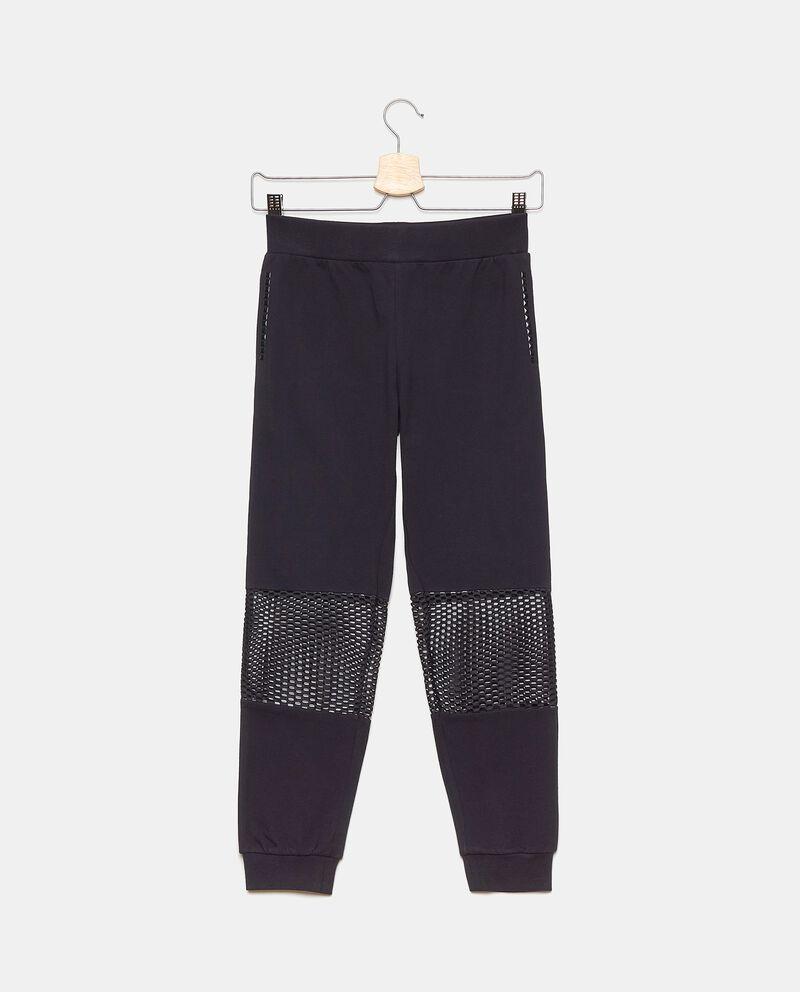 Pantaloni in cotone elasticato con inserti a rete ragazza