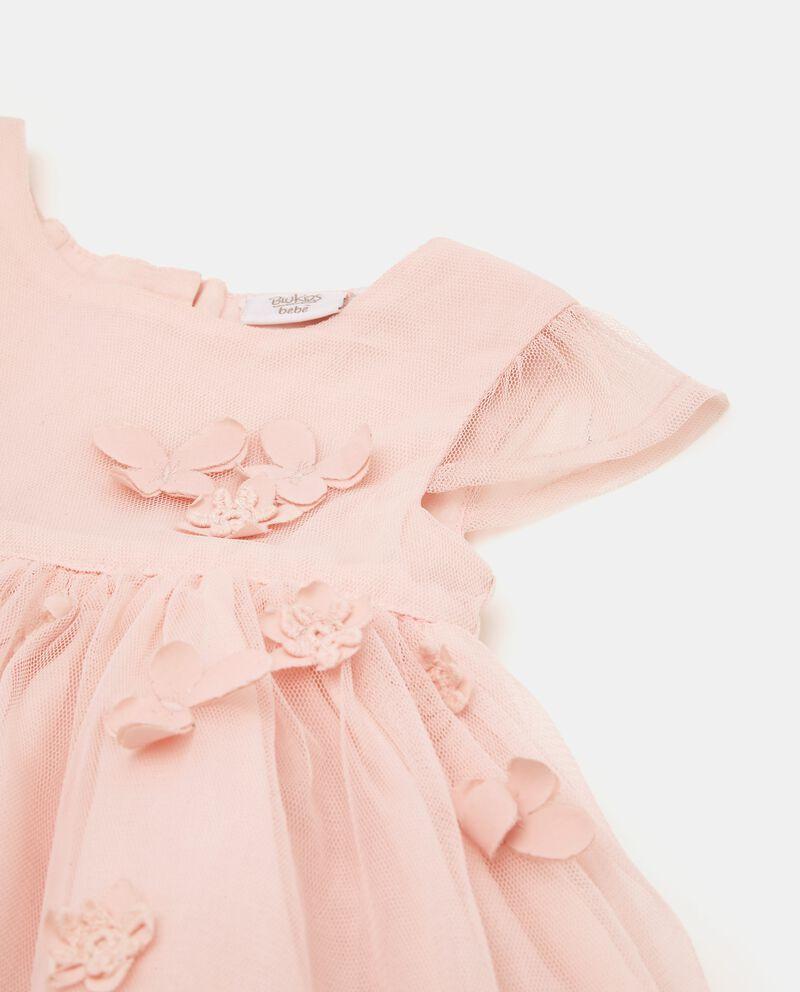 Vestitino con velo e fiori applicati neonata