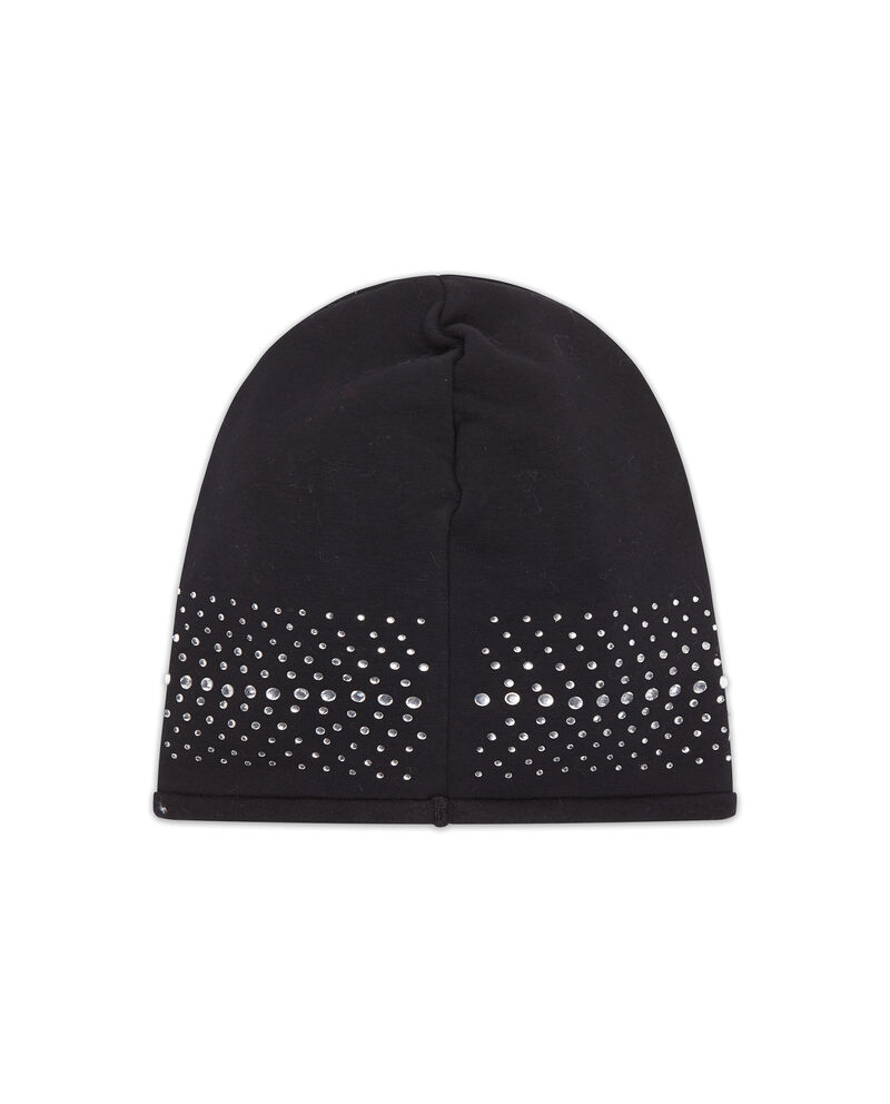 Cappello a cuffia stretch con strass