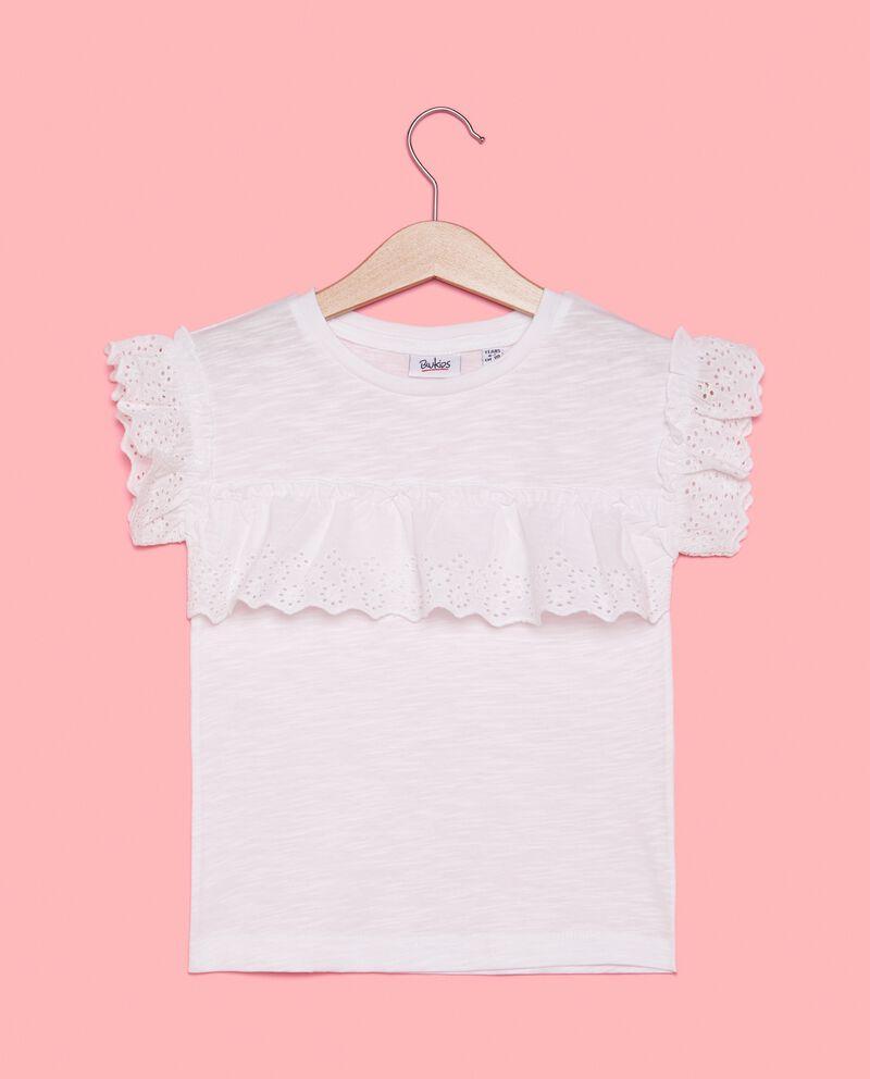 T-shirt in puro cotone con dettagli sangallo