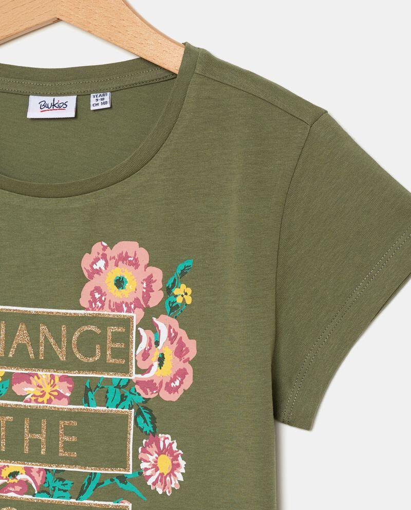 T-shirt con stampa floreale in puro cotone ragazza single tile 1