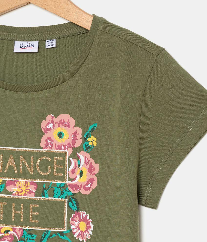 T-shirt con stampa floreale in puro cotone ragazza