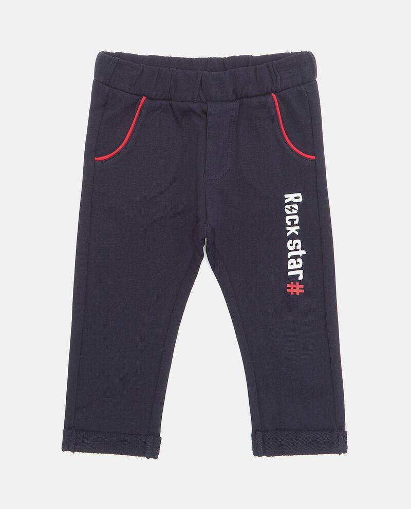Pantaloni in puro cotone con lettering neonato
