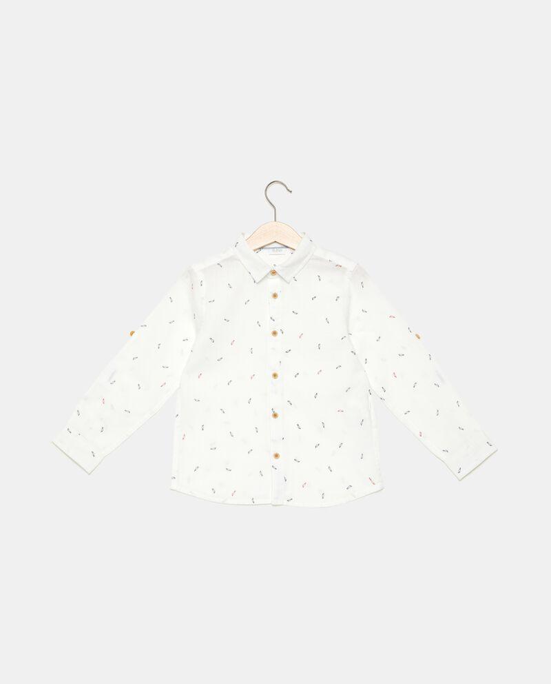 Camicia in cotone misto lino con fantasia bambino