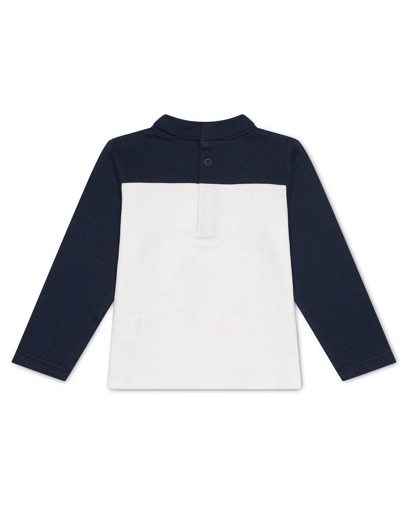 T-shirt cotone bicolore collo alto stampa