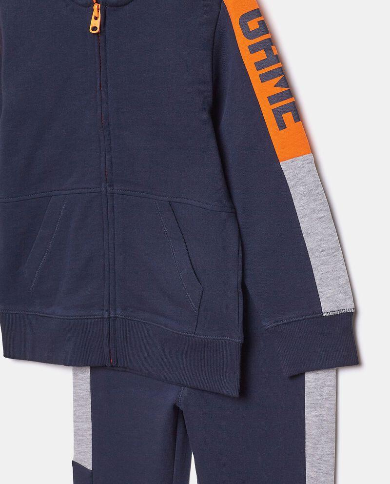 Set con felpa zippata e pantaloni puro cotone bambino