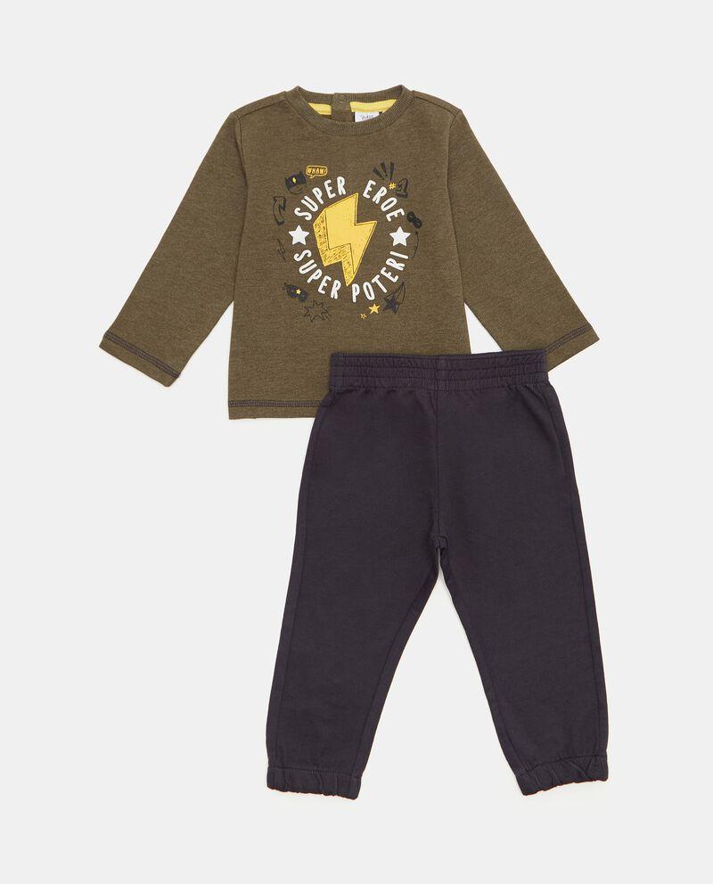 Set con maglia e pantaloni in puro cotone biologico neonato