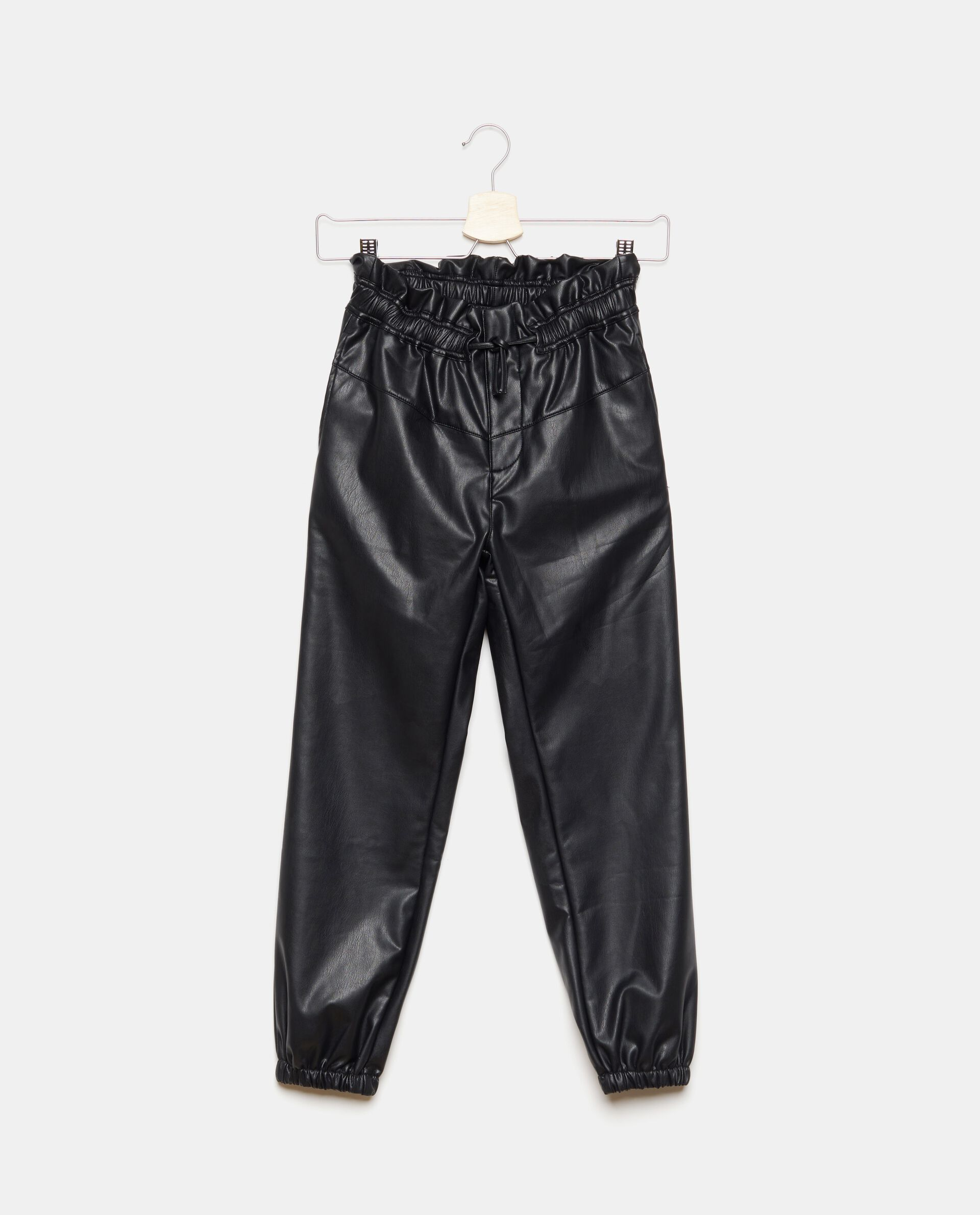 Pantaloni in ecopelle con coulisse