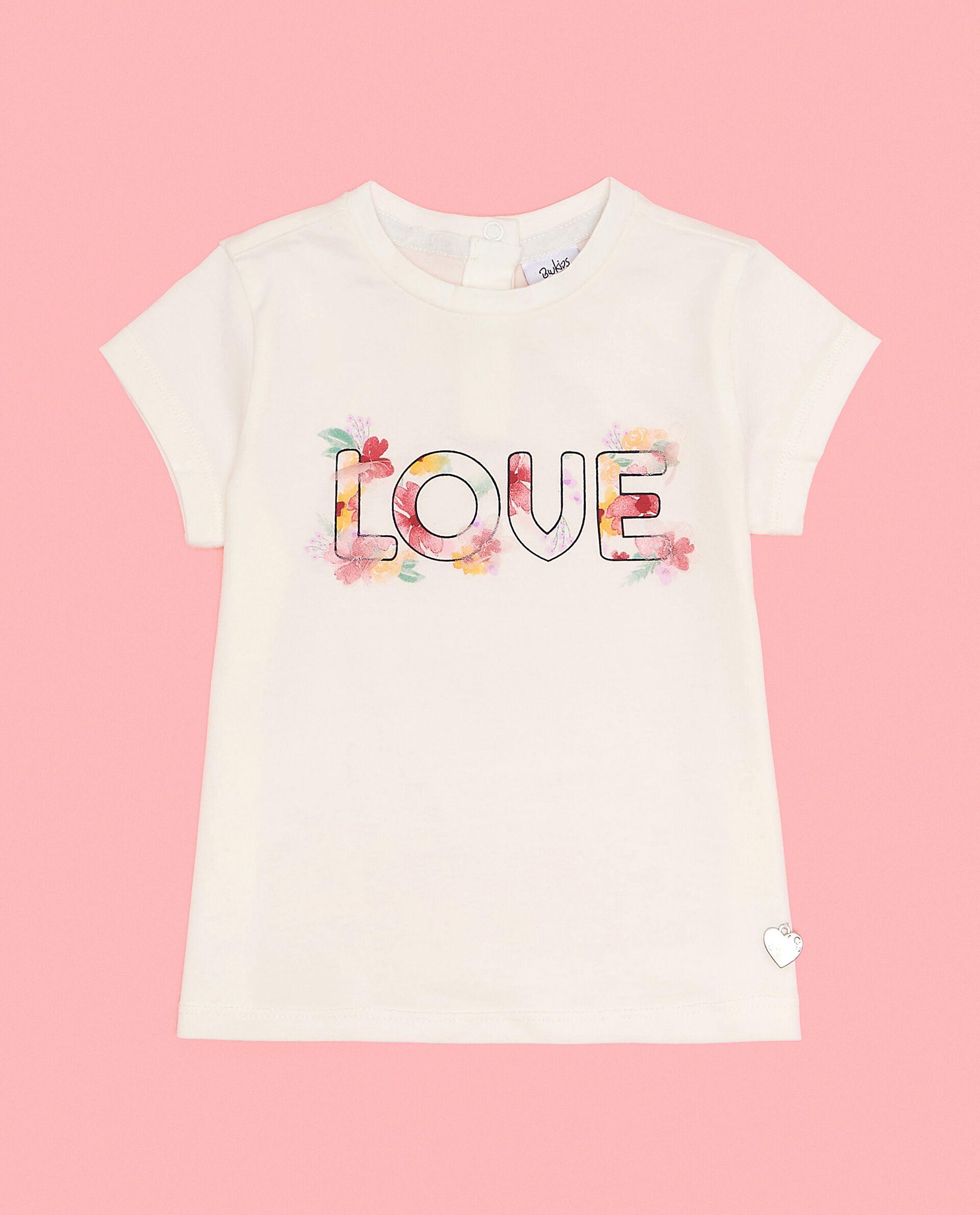 T-shirt con lettering e cuoricino neonata