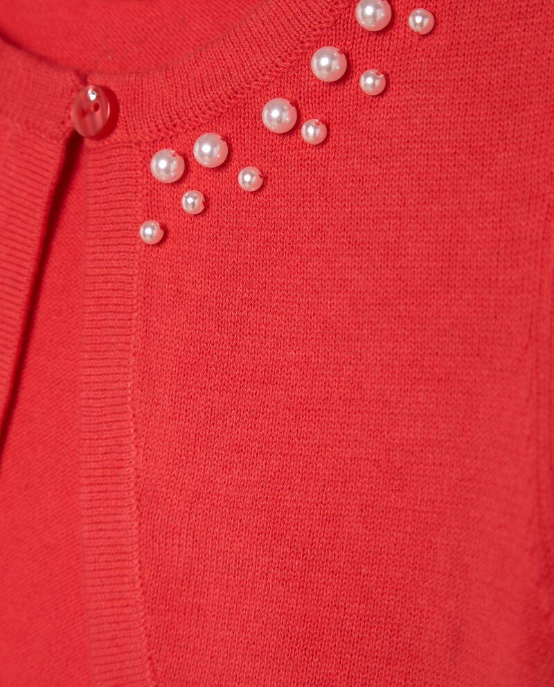 Golfino in puro cotone con perline bambina