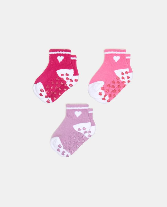 Set con tre paia di calzini antiscivolo in cotone elasticizzato neonata