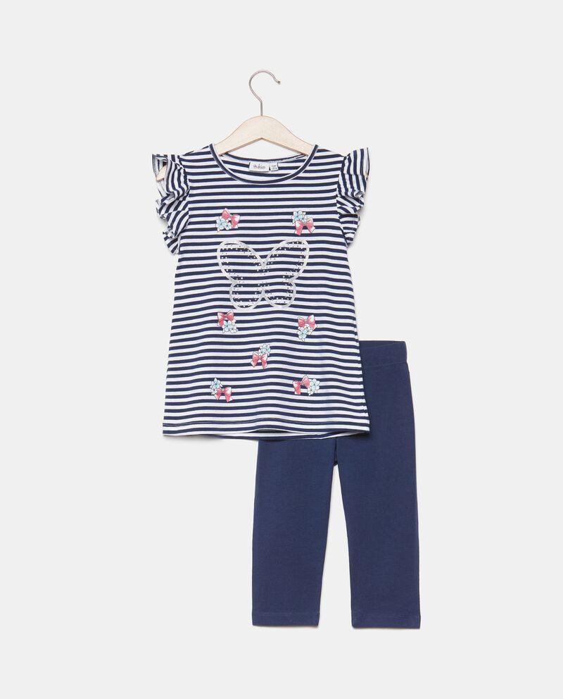 Completo con top e leggings in cotone organico bambina