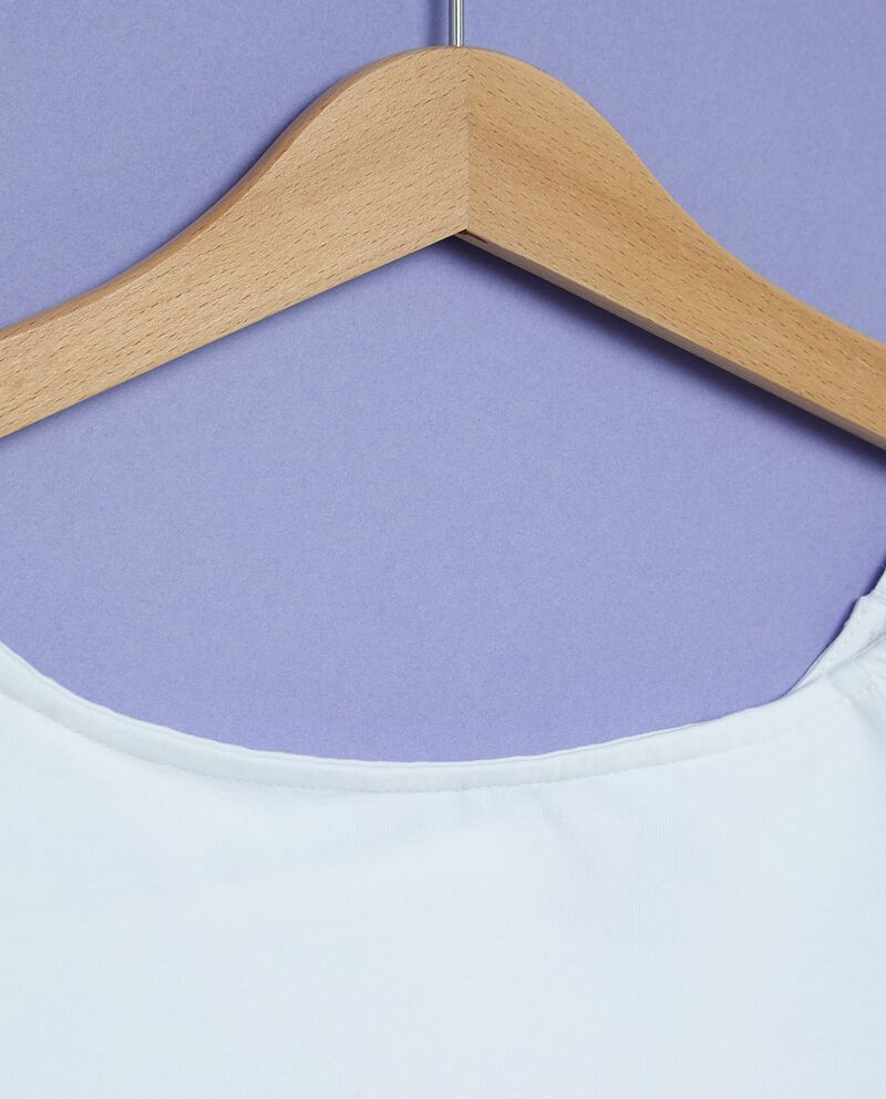 T-shirt in tinta unita in cotone misto elastane ragazza