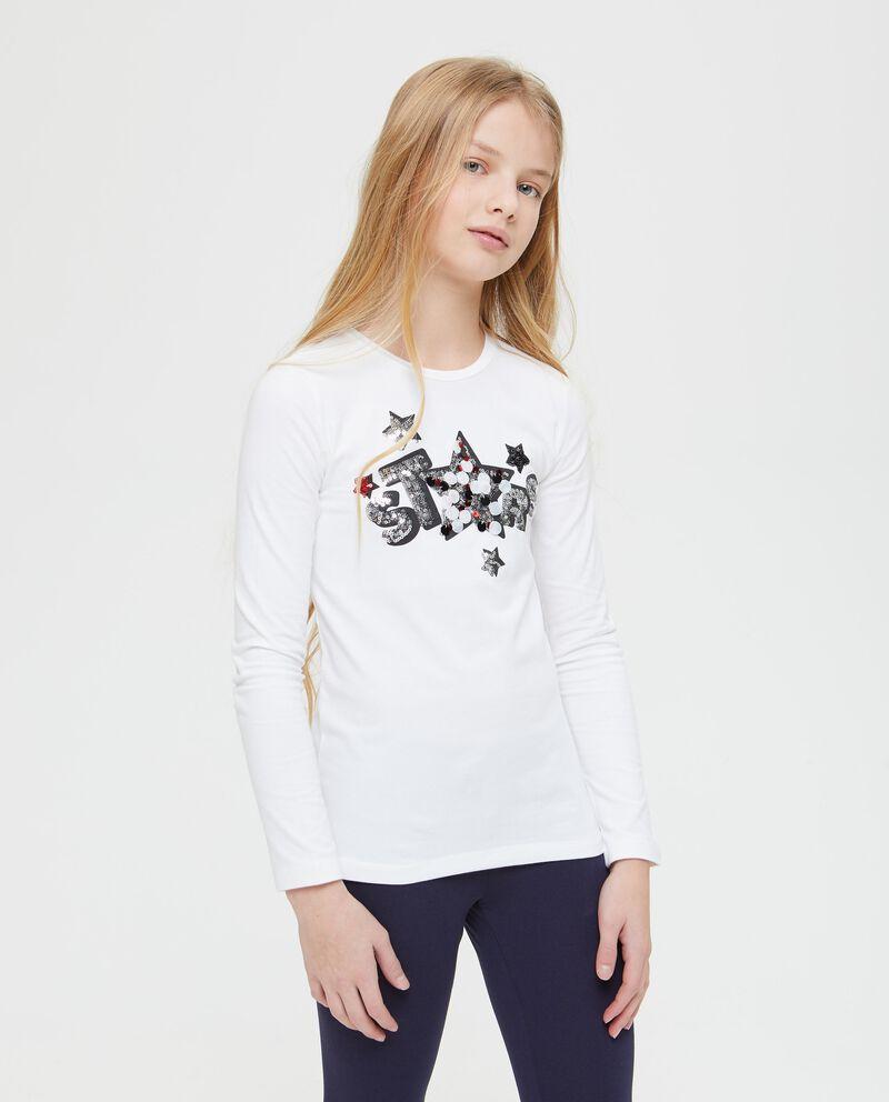 T-shirt girocollo con paillettes