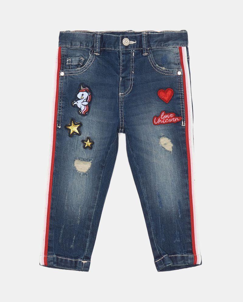 Jeans stretch con bande e patch