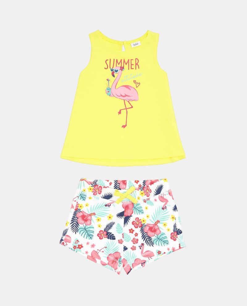 Set t-shirt stampa glitter shorts quadri