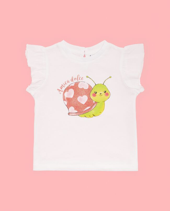 T-shirt in puro cotone con volant neonata