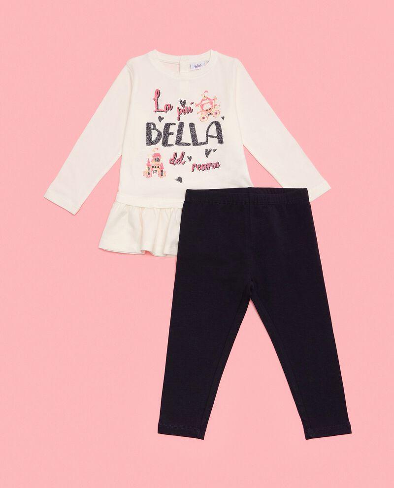 Completino in cotone biologico con maglia e pantaloni neonata