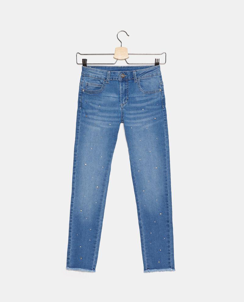 Jeans in cotone stretch con perle ragazza cover