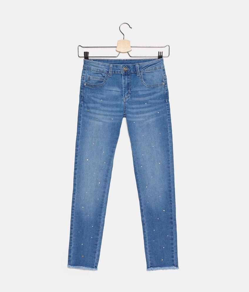 Jeans in cotone stretch con perle ragazza