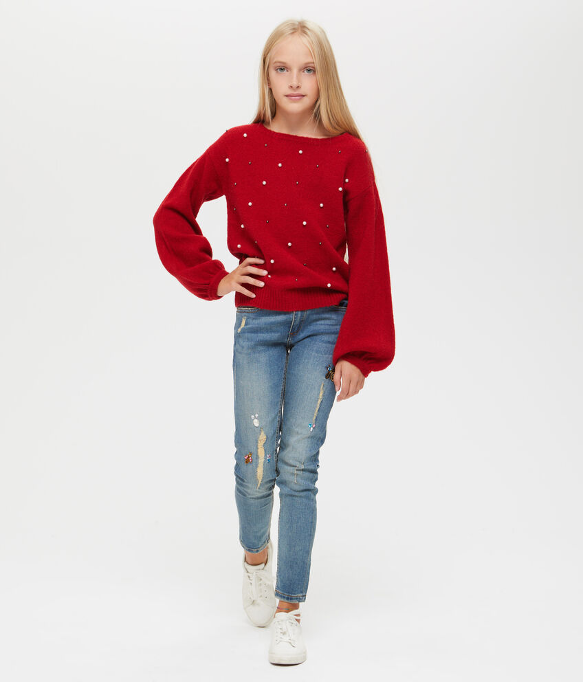 Pullover stretch con perline e borchie