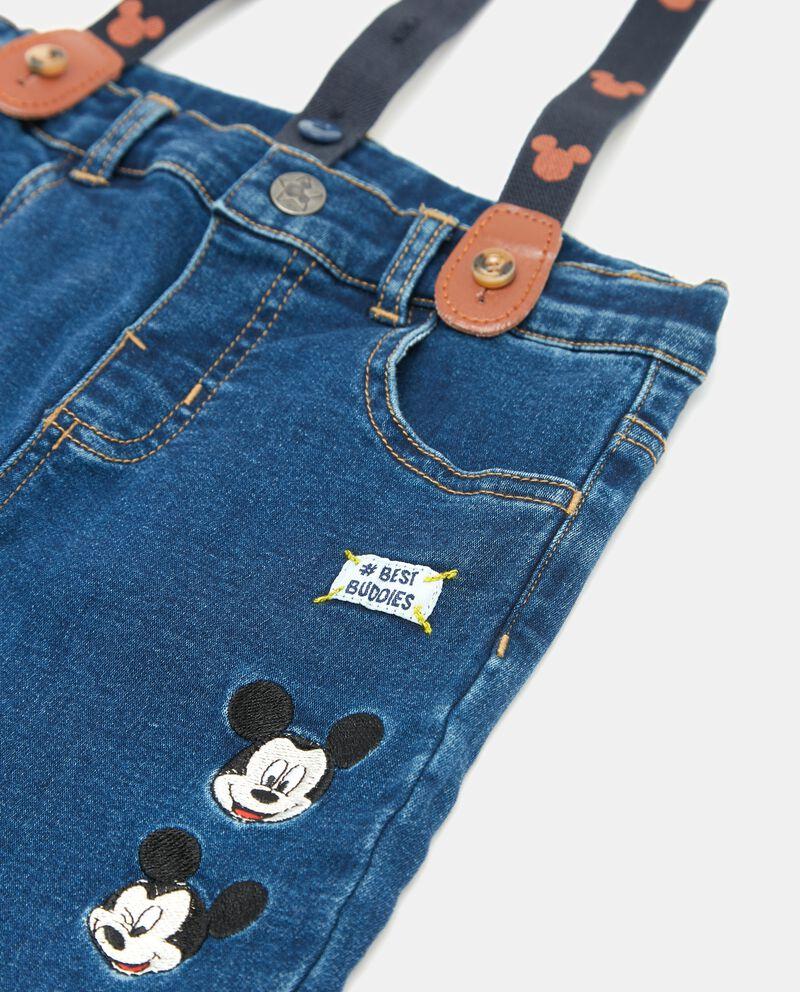 Jeans con bretelle Topolino neonato
