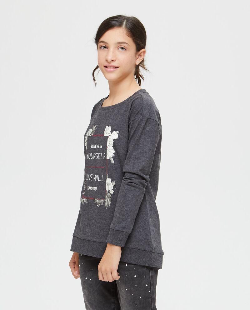 T-shirt girocollo lettering e floreale