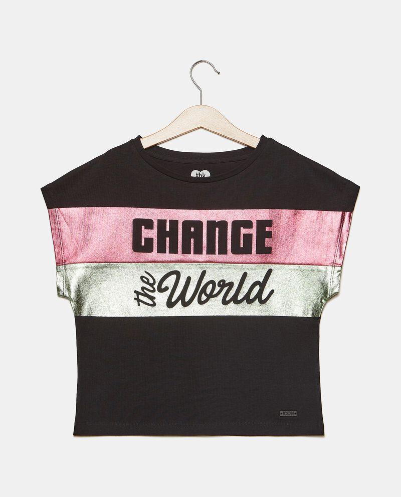 T-shirt cropped girocollo di cotone elasticato ragazza cover