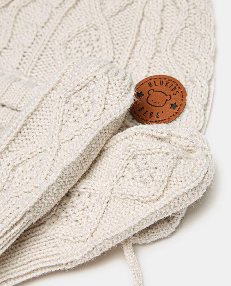 Set con berretto e manopoline in maglia neonato single tile 1