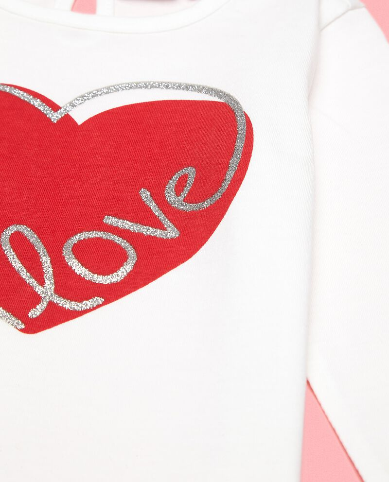 Maglia con stampa cuore in puro cotone neonata