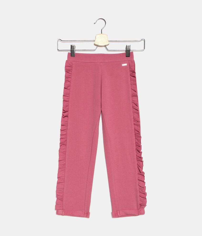 Pantaloni con ruches laterali in cotone biologico bambina