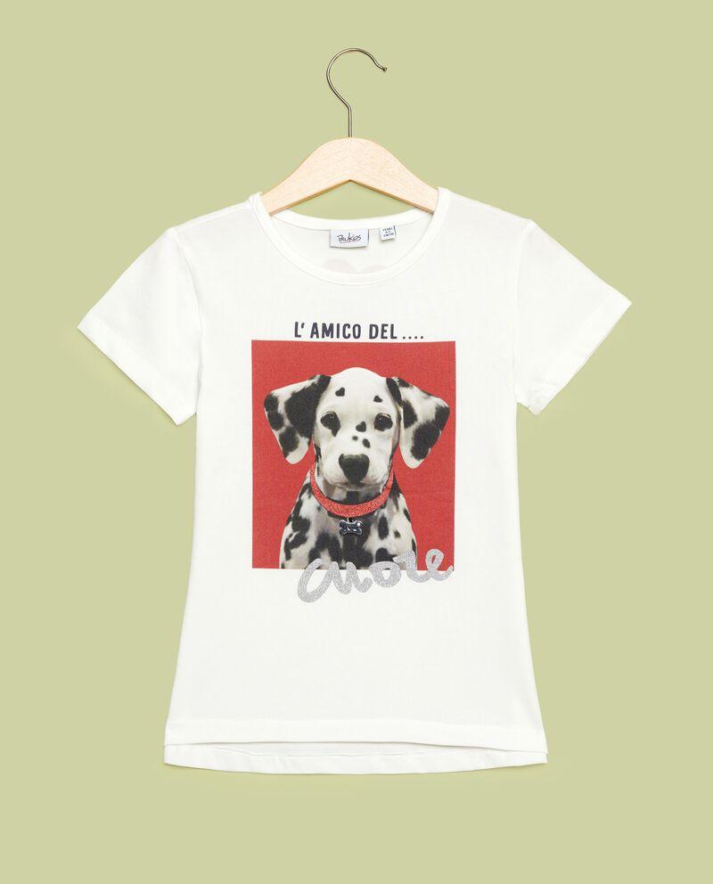 T-shirt con stampa cagnolino bambina