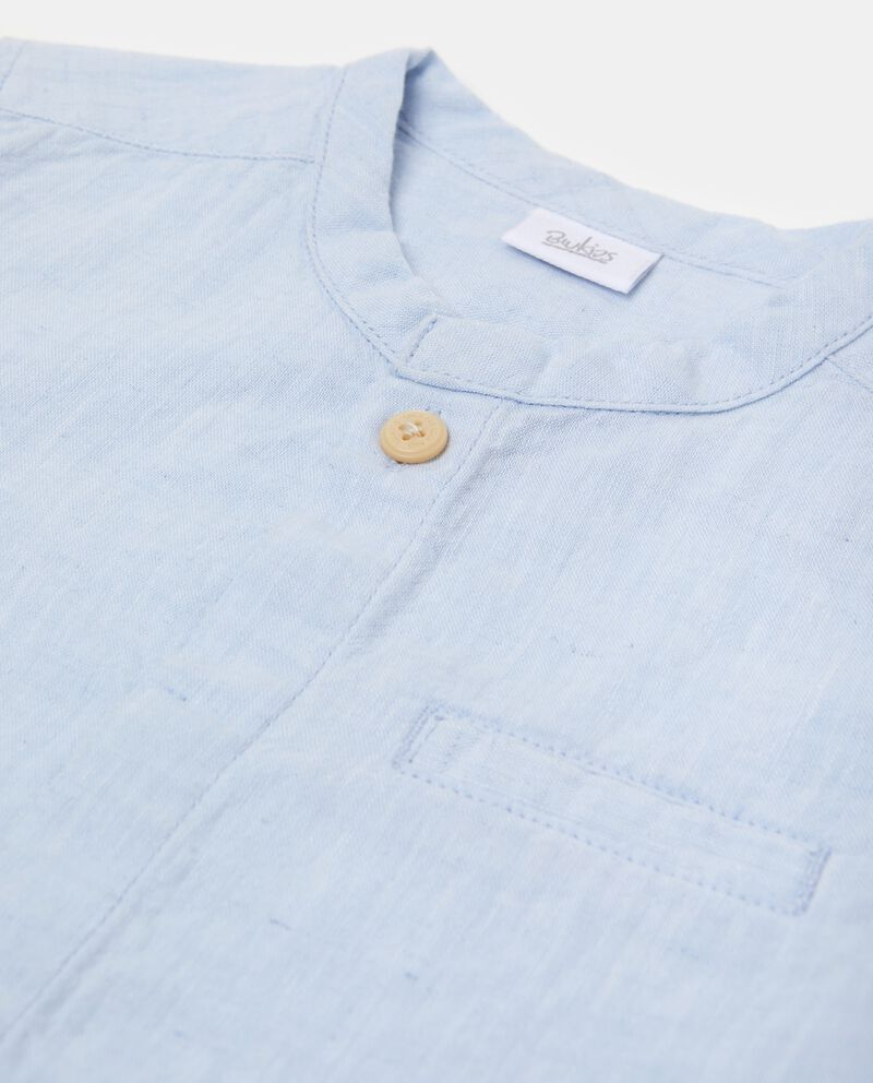Camicia in lino misto cotone con colletto alla coreana neonato