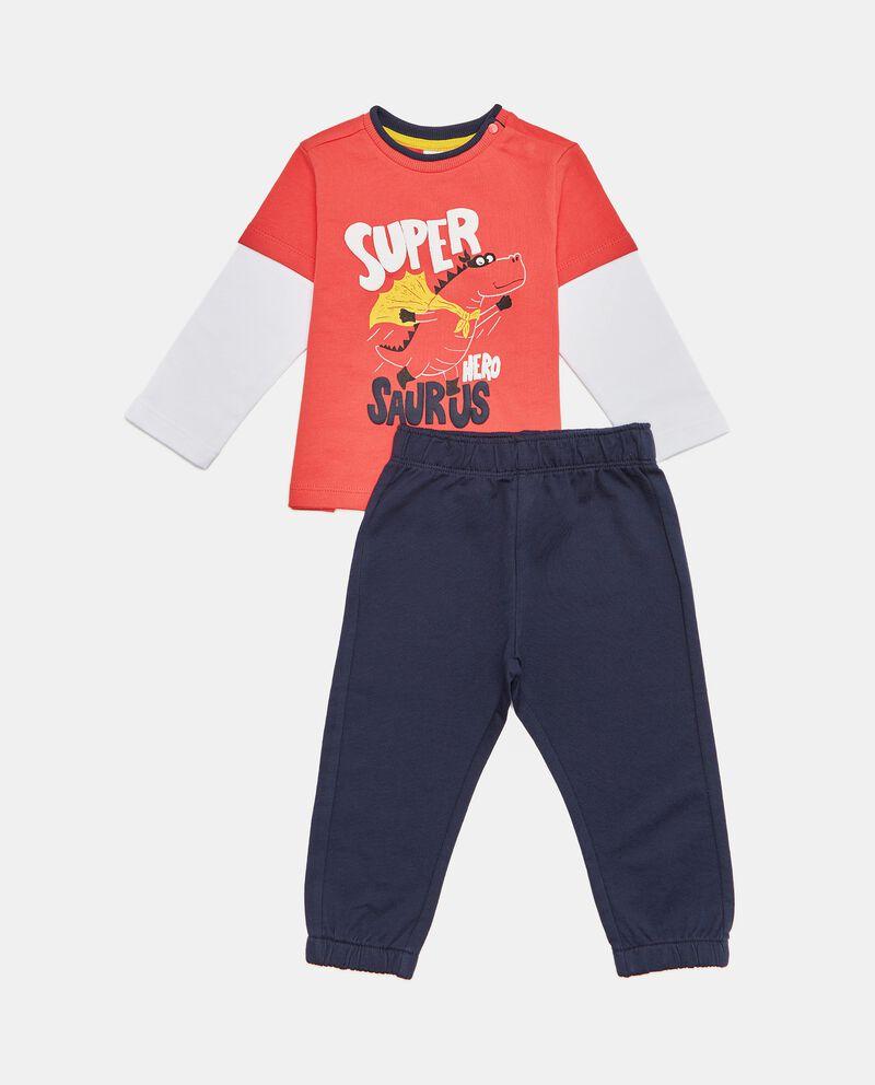 Set jogging maglia e pantaloni in puro cotone biologico neonato