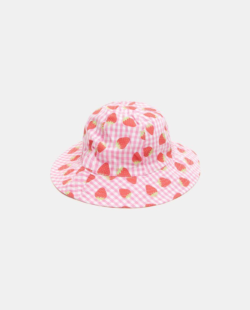 Cappellino alla pescatora in puro cotone con fantasia fragole