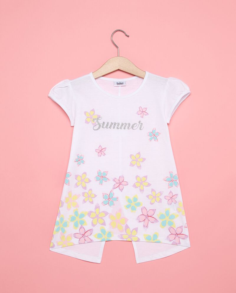 T-shirt stampa floreale con spacco