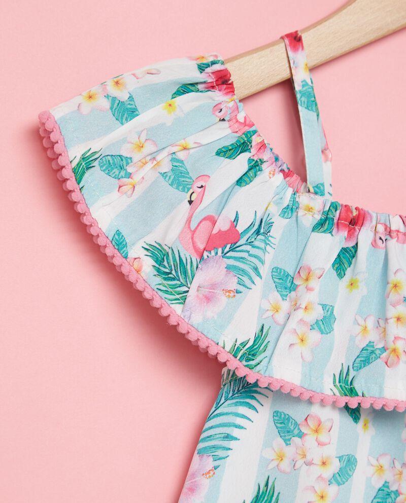 Vestito spalle scoperte con fantasia tropicale bambina